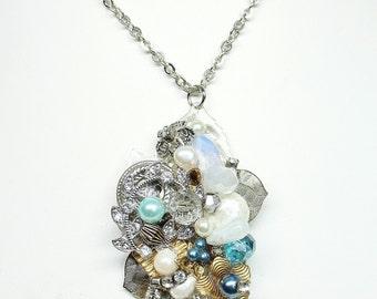 Aqua Blue pendant necklace- Rhinestone necklace-Blue Rhinestone Pendant- Vintage jewelry necklace- Up cycled necklace-Blue Pendant
