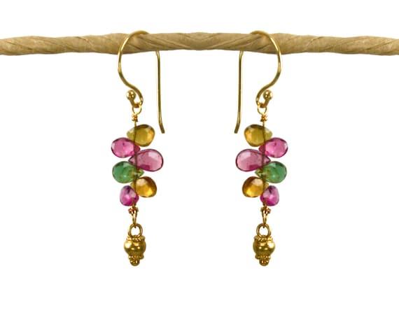 Watermelon Tourmaline Earrings. Vertical bar earrings. with gold vermeil accents  tourmaline teardrops.