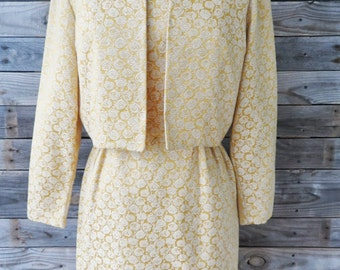Vintage Gay Gibson Golden Floral Print Dress Two Piece Suit