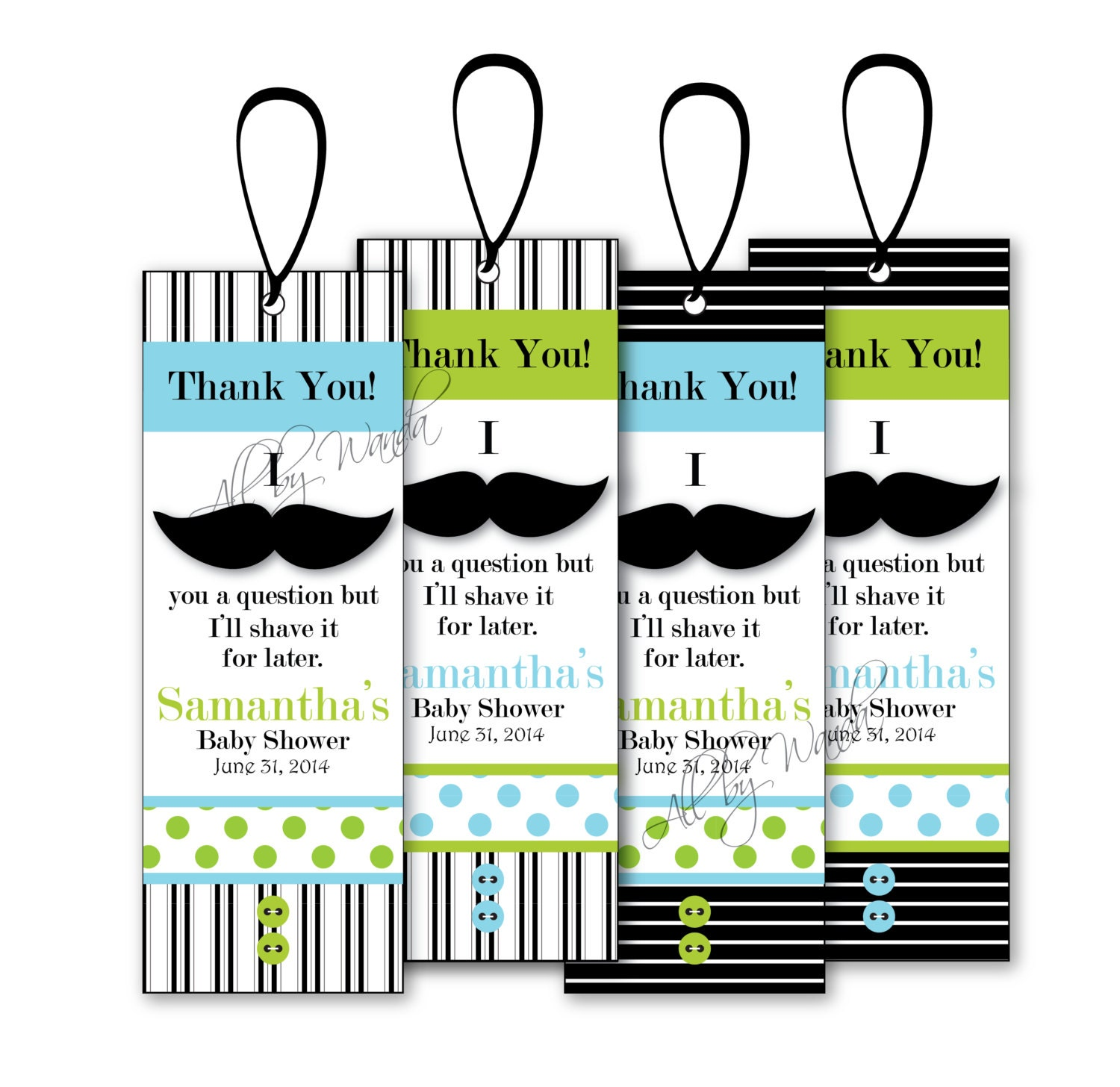 Black Mustache Bookmarks Thank You Bookmarks Mustache Theme