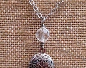 Silver Diffuser Locket with Faceted Quartz Crystal Beaded Drop for Essential Oils