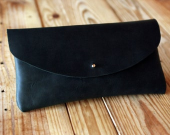 Black leather clutch bag. Oiled leather handbag. Bags and purses. Black oiled leather bag. Full grain leather. Clutch purse. LB017