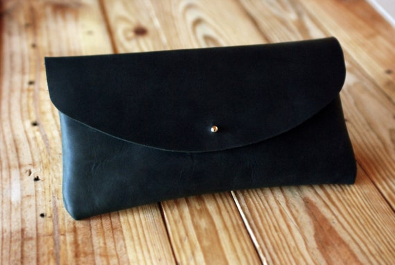 Black leather clutch bag. Oiled leather handbag. Bags and