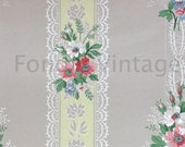 Build Your Own Custom Sample Vintage Wallpaper Packet - Single Scrap Sheet, 8 1/2 in. x 10 1/2 in. Page - Gray Yellow Pink Floral Stripe