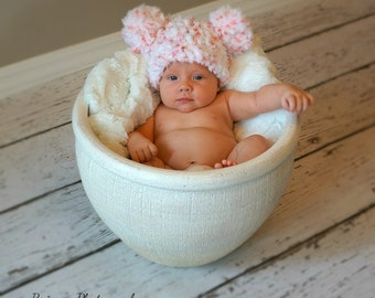 Crochet Baby Hat  Pink Pom Pom Fuzzy Pink and white  Hat Valentine's Day