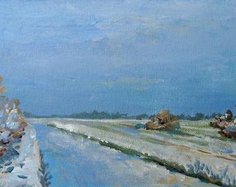 Winter Quietness, Dutch Landscape, by VerbruggeWatercolor, acrylic original painting, blue sky, snow fields