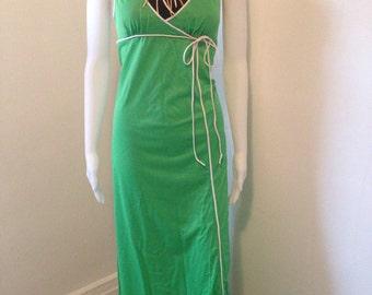Vintage 70s Donald Brooks for  Maidenform Sleeveless v-neck maxi dress