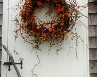 Fresh Bittersweet and Japanese Lantern Wreath - Harvest Wreath Autumn Wreath
