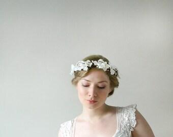 Fluttery 'Amelie' Headpiece - White Hydrangea Woodland Wedding Flower Crown