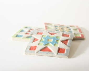 handmade porcelain tiles, high relief modern folk geometric quilt patterns, SET OF 3 - bold colors: turquoise, coral, lime, tangerine, gray