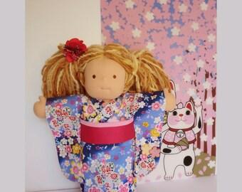 """japanese blue doll kimono for a 15"""" Waldorf inspired dolls, doll dress,  Japanese fabric kimono, japanese cotton yukata kimono doll"""