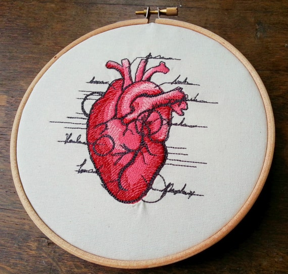 Items Similar To Anatomical Heart Embroidered Hoop Art
