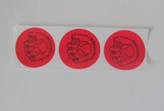STICKERS / Baseball and Glove / Red Label Envelope Seal / Party Favor / Round Hand stamped / Set of 15