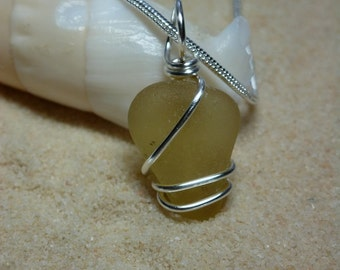 Rare yellow wire wrapped sea glass necklace with sterling silver chain