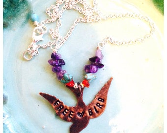 FREE BIRD - STERLING - Hand stamped necklace with natural gemstones