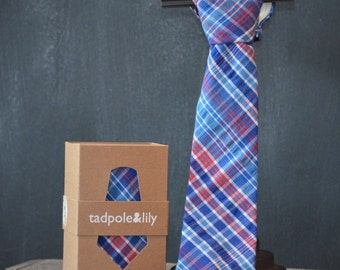 Navy and Red Plaid Necktie | Boys