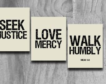 Seek Justice Art 3 Pc Set Print Scripture Subway Wall Art Printable INSTANT Digital Download Courageous Lyrics Black Taupe