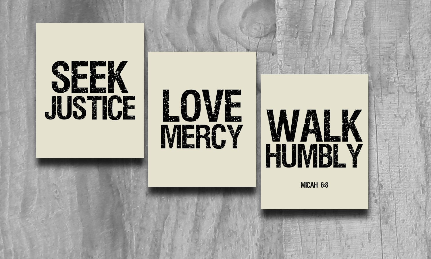 Justice And Mercy Quotes: Seek Justice Art 3 Pc Set Print Scripture Subway Wall Art