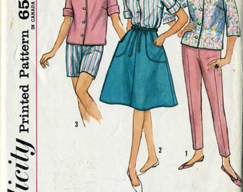 Simplicity 4949  Wrap Skirt Blouse Long Pants Shorts early 60's Wardrobe Sewing Pattern bust 32