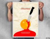 Clockwork orange print movie poster minimal art blood original knife stanley kubrick