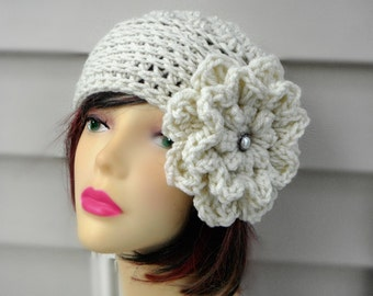 Crochet Winter Hat Womens Hat Crochet Hat with Flower and pearl Womens Accessories Fashion Accessories