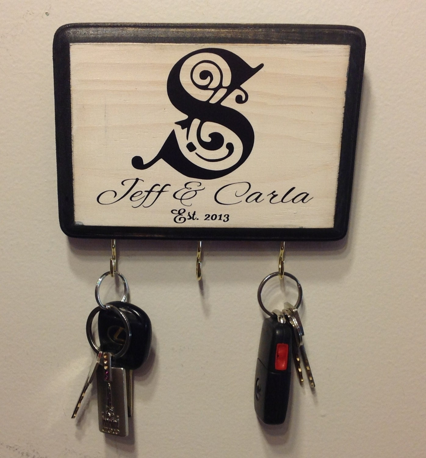 Great bridal shower gift personalized wall key holder with for Great wedding shower gifts