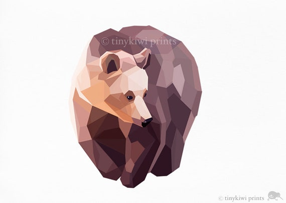 Bear, Grizzly Bear, Geometric print, Original illustration, Animal print, Minimal art, Nursery wall art