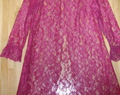 Peignoir Pink Raspberry M - L Lace Overcoat Raspberry Vintage Burlesque Bellydance Cover Up Cult Party Kei Med-Lg Lolita Style