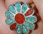 Vintage Southwestern 1970's Flower Sterling Silver Turquoise and Coral Ring Size 6.75