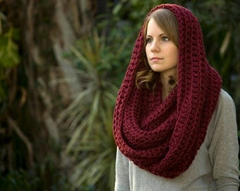 Burgundy Infinity Scarf, Dark Red Chunky Cowl, Crochet Oversized Scarf, Women's Winter Accessories