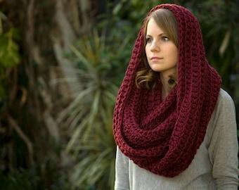 Burgundy Infinity Scarf, Dark Red Chunky Cowl, Crochet Oversized Scarf, Women's Winter Accessories