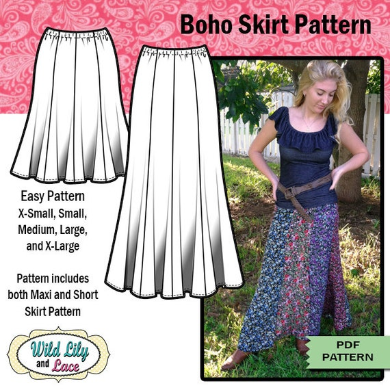 easy pattern for maxi skirt pdf sewing pattern