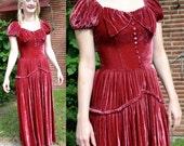 1930s Vintage Raspberry Red Silk Velvet Dress size XS bust 30