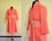 1970s Vintage Lillie Rubin Coral Wrap Dress size S M bust 34