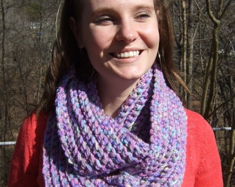 Infinity Scarf, Chunky, Crochet, Lavender, Multi color, Two-Tone, women's circle scarf