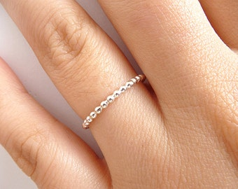 Sterling Silver Stack Ring - Thin 1.5mm Ring - Beaded Ring - Slim Band Stack Ring - Stackable Ring - Dotted Ring