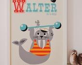 Personalised 'Weight lifting Walrus' Name Print, Letter W Personalised Print, New Baby Print, Fun New Baby Print, Nautical, Retro Nursery,