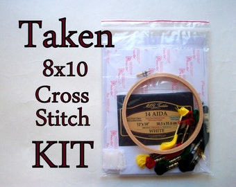 Cross Stitch KIT -- 8x10 sampler, do not mess with my daughter, internet meme, neeson