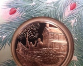 Franklin Mint  1980 Holiday Collectible Bronze Coin Card Bringing Home the Tree: Present for the Vintage Lover in Your Life