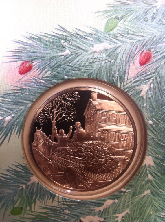 Items Similar To Franklin Mint 1980 Holiday Collectible Bronze Coin Card Bringing Home The Tree