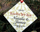 Personalized Christmas Ornament - Bless Our new Home - Personalized House Warming Gift - 2013 Holiday Ornament - First House - Gold - Red