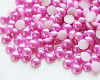 50 Pink Pearl Flatbacks for Scrapbooking, Mini Albums,Journals, Layouts, Hair Clips,Home Decor, Altered Art,Flower Centers
