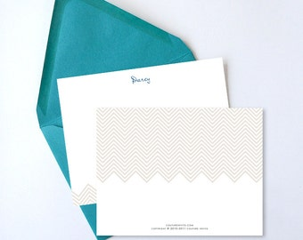 Personalized Stationery Set // Herringbone - Set of 25  - Custom Stationery - Choose your own font and colors!