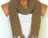 Women,Men Scarf,Unisex ,Knitted Scarf.Loop Scarf,Neck Warmer. Coffee Beige Hand knit scarves.