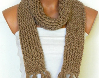 Women,Men Scarf,Unisex ,Knitted Scarf.Loop Scarf,Neck Warmer. Coffee Beige Hand knit scarves.