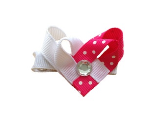 ON SALE 20% OFF Heart hair bow - Valentines hair bow