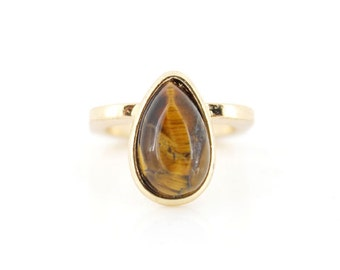 Vintage Retro Gold-tone Brown TIGER'S EYE Stone RING,Size selectable,K5