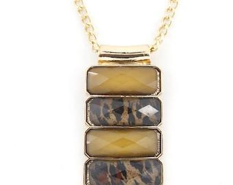 Cool Leopard Decorative Light Tan Rectangle Plate Necklace,L3