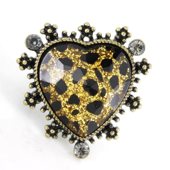 Cool Gold-tone Shiny Heart Stone With Leopard Pattern Decorative Ring,Size 8 <D8>
