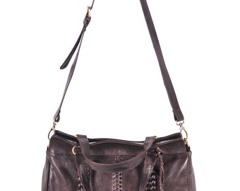 FRIDA. Brown Leather bag / convertible bag / leather shoulder bag / leather cross body / bohemian bag. Available in different leather colors